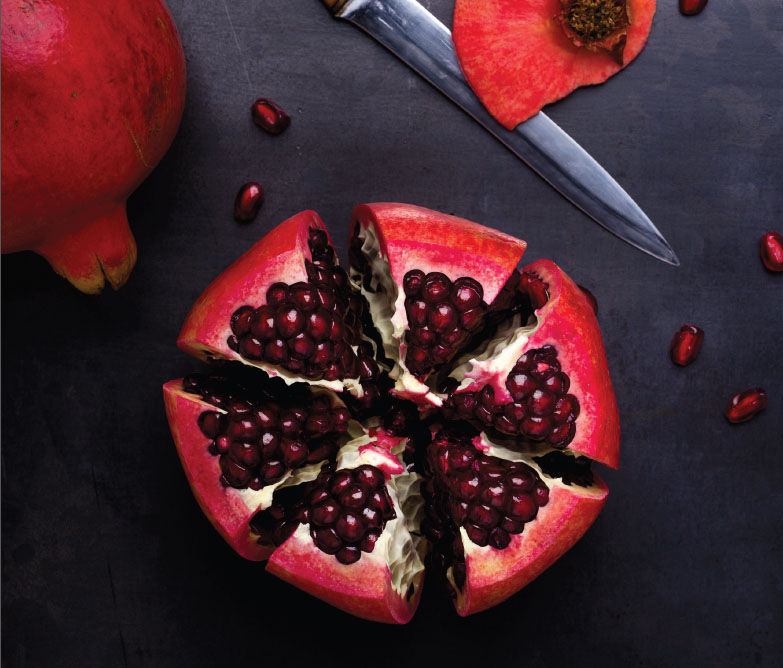 Sliced pomegranate