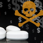 medicine pills next to skull danger image